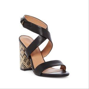 Genuine Leather Aztec Print Block Heel Sandals